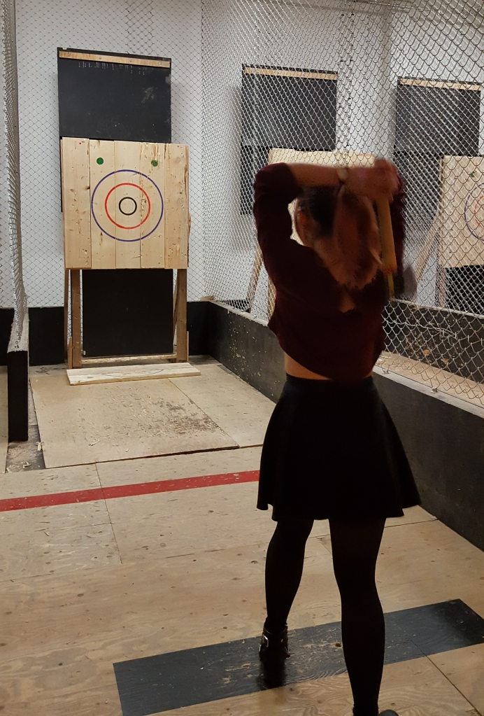 Practicing proper axe throwing technique!