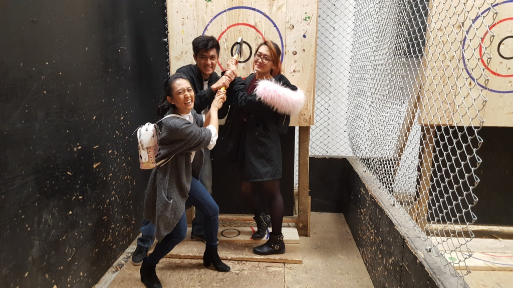 thelostgirl.blog & superpeachlife celebrating a successful axe throwing session