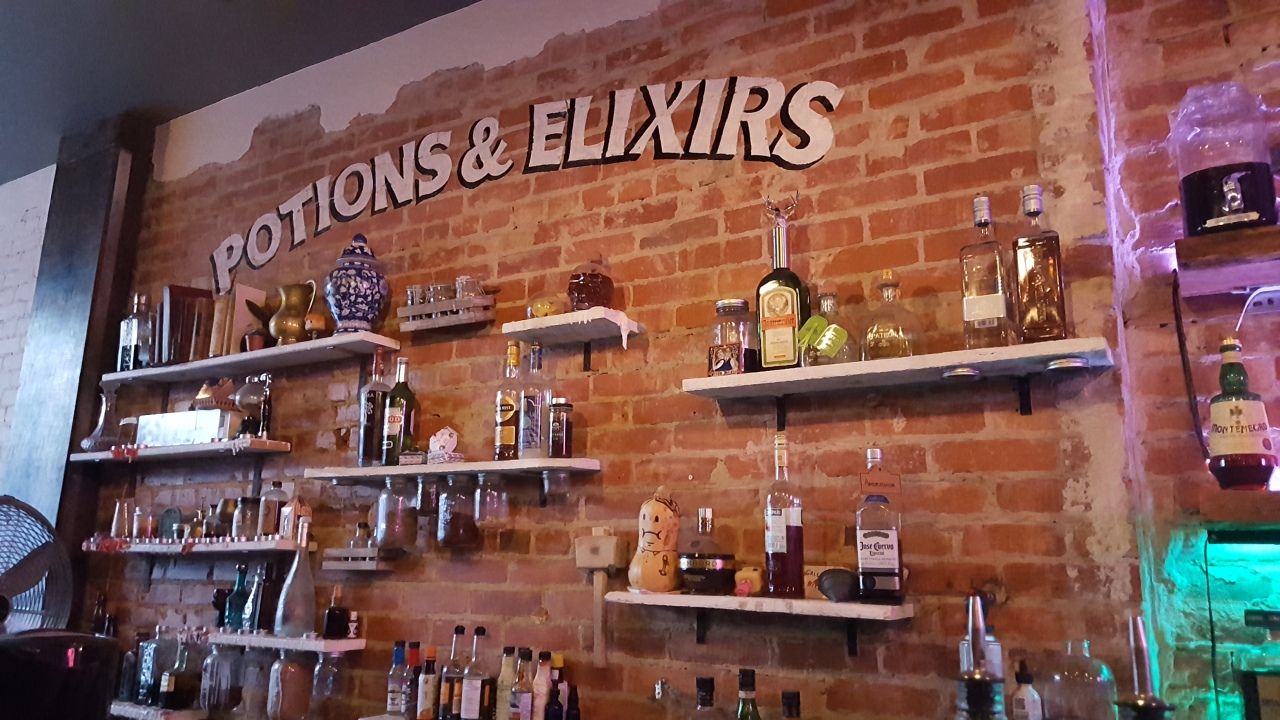 Potions & Elixirs wall at the Lockhart in Toronto